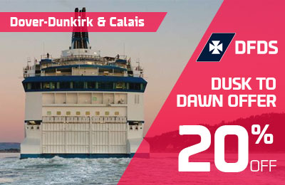 20% Off Dover-France sailings from Dusk to Dawn (10pm-6am)